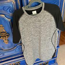 Gap Fit Cool Dry Short Sleeve Shirt Mens M Gray Black Colorblock Athletic