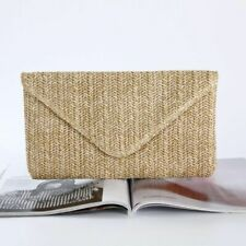 Women Knitted Envelope Banquet Clutch Handbag Summer Straw Beach Evening Bag