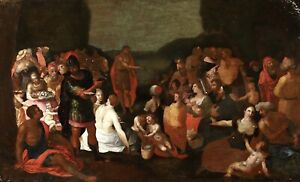 16th CENTURY LARGE ITALIAN OLD MASTER OIL PANEL - CHRIST PREACHING TO MULTITUDES