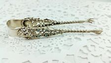 Sterling Silver Gold Gilt Enamel Sugar Tongs Gryphon Head Rooster Talons Floral
