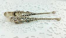 Antique Sterling Silver Gold Gilt Enamel Sugar Tongs Gryphon Head Talons Floral