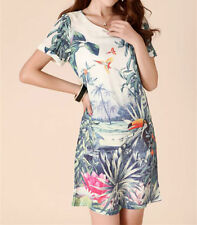 Cotton Blend Short Sleeve Floral Dresses for Women