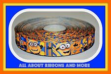 7/8 INCH DESPICABLE ME MINIONS BLUE AND ORANGE GROSGRAIN RIBBON- 1 YARD
