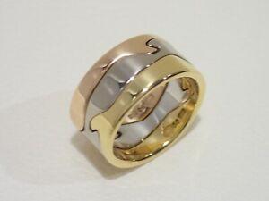 GEORG JENSEN 18k tri-color gold Fusion ring size US 7.5