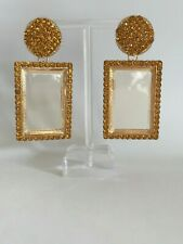 Stunning Major Designer Retro Gold Rhinestone Embellished Runway Drop Earrings