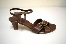 BALLY of SWITZERLAND Brown Cross Ankle Strap Sandals w Leather Locks Size 6 M US