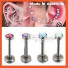Titanium Opal Labret Lip Tragus Helix Nose Ear Earrings Piercing Ring Bar Stud