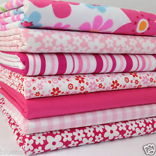 FAT QUARTER BUNDLE 7 polycotton fabrics flower power pinks 20 x 22 inches each