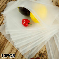 10PCS Reusable Food Storage Silicone Bags Leak-Proof Fresh Ziplock Produce Bags