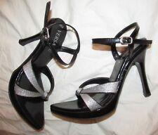VERSACE women's 6 early 00s vtg glittery Silver black open toe high heel sandals