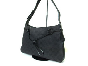 GUCCI GG Pattern Canvas Leather Dark Gray Tote bag Shoulder bag G10600L