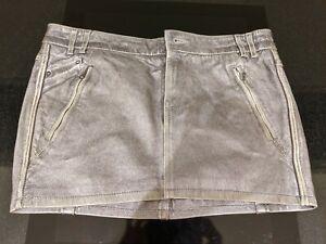 Diesel Liquid Space Silver 100% Lamb Leather Mini Skirt Size 29