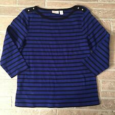 CHICOS Top Blue Black Stripe Boat Neck Button Office Work Career Neat Soft X