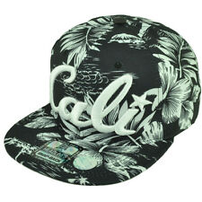 Cali California All Over Hawaiian Floral Hat Cap Nylon Snapback BLK White Palms