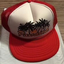 Vintage Panama Hat Red With Palm Trees Button Back One Size Fits All