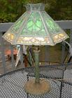 ANTIQUE MISSION ERA SIGNED MILLER 971 CARMEL & GREEN SLAG GLASS 12 PANEL LAMP NR