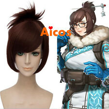 Overwatch/OW Dr. Mei-Ling Zhou Deep Brown Ponytail Heat Resistant Cosplay Wig
