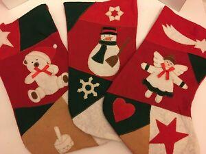 3 x Felt Angel, Snowman & Teddy Bear Xmas Stockings