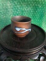 Vintage Japanese Studio Stoneware Handmade  Pottery Sake Cup blue glaze