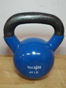 40lb Cast Iron Rubber Coated Kettlebell 40lbs Weight At Home Gym Workout Lifting