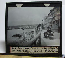 c1900 NICE FRANCE Quai Des Unis Etats et Prom - Glass Lantern Photo Slide