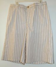 New ~Kelly's Kids Samuel Flat Front Cement/White Stripe Shorts Boy's Size 16 yr.