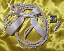 Beautiful Wedding Rope,Cord in White with coin set. Lazo de Boda Blanco y Arraz