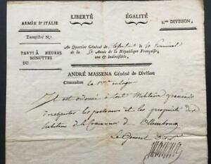 Andre Massena, French General, Napoleon, SIGNED note, circa 1796