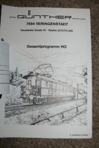 G21  Günther Modellbahntechnik  Gesamtprogramm 5. Auflage Katalog ca 50 Seiten