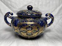 Npsk Antique Porcelain Sugar Bowl Nippon Blue Gold Delicate japan