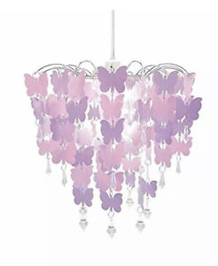 Deco Express Butterfly Lampshade/Chandelier In Pink & Purple Universal Fit NEW