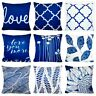 PILLOW COVER Navy Blue Velvet Home Decor Soft Sofa Bed Love Cushion Case 16x16""
