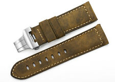24mm Vintage Genuine Asso Leather Watch Band Strap Deployment Clasp For Panerai