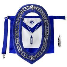 Masonic Apron SILVER Working Tools Collar Chain & JR Warden Jewel Plumb Bundle