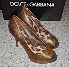 DOLCE & GABBANA Gold Black Sandpaper Texture Stiletto High Heel Peep Toe Pumps