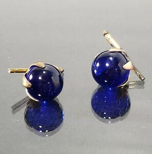 "Vintage Blue Glass Ball Cufflinks .50"" Marble w Spring Loaded Slides"
