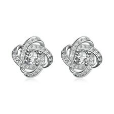 18k White Gold Plated 15 Mm Infinity Stud Earrings Made With Swarovski Crystals