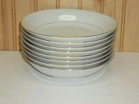 "(8) Sakura CLASSIC GOLD 1996 China 7 1/2"" Coupe Soup Bowls Gold Trim, Pinstripe"