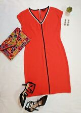 MAAC London Nordstrom Women's Arles Dress Orange-Black Vneck Cap Sleeves Sz L