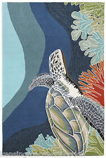 "AREA RUGS - ""TURTLE CREEK"" RUG - SEA TURTLE INDOOR OUTDOOR RUG - 7'6"" x 9'6"""