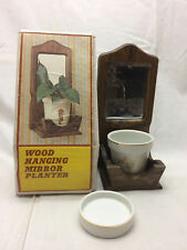 Hanging Mirror Planter Mother's Day Vintage 1978 New Old Stock Wood