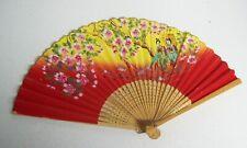 Vintage Asian Ladies Fan  RED Yellow GEISHAS