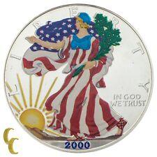 2000 Painted Walking Liberty 1 oz Silver American Eagle w/ Box & CoA