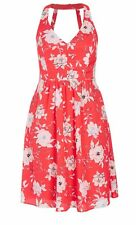 CITY CHIC Vintage Dress - Retro Coral Red White Floral Ruched Pockets - XXL/24