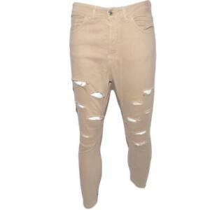 Pantaloni uomo beige camel chino con strappi slim fit in cotone tinta unita line