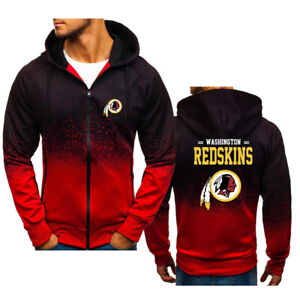 Washington Redskins Hoodies Hooded Full Zip Sweatshirt Casual Jacket Fleece Coat