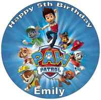 "Paw Patrol Personalised 7.5"" Cake Topper Birthday Edible Wafer Paper Birthdays"