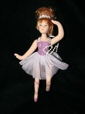 Porcelain Ballerina Doll Christmas Ornament - Gift ~ Purple Dress