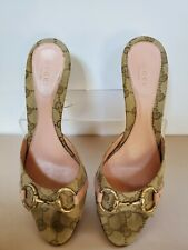 Gucci Womens Pink/Tan Kitten Heels Slip-On Size 8B Signature Shoes