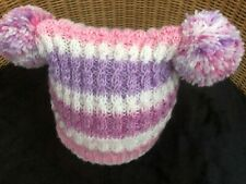 NEW Hand Knitted Baby Girl's PINK MULTI Beanie Hat with  POM POMS  6 - 9 Months